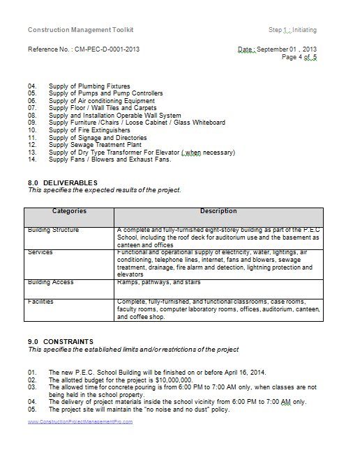 project charter page 4